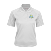 Ladies White Textured Saddle Shoulder Polo-Misericordia Official Logo
