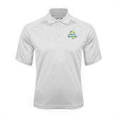 White Textured Saddle Shoulder Polo-Misericordia Official Logo