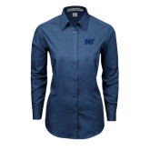 Ladies Deep Blue Tonal Pattern Long Sleeve Shirt-MU