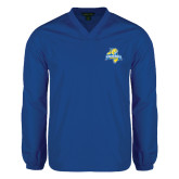 V Neck Royal Raglan Windshirt-Misericordia Official Logo