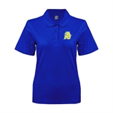 Ladies Easycare Royal Pique Polo-MU w/Cougar Head