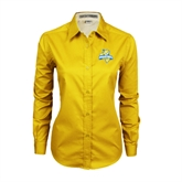 Ladies Gold Twill Button Down Long Sleeve-Misericordia Official Logo