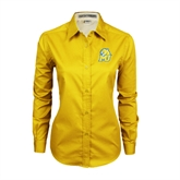 Ladies Gold Twill Button Down Long Sleeve-MU w/Cougar Head