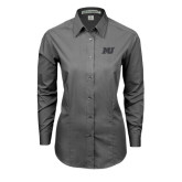 Ladies Grey Tonal Pattern Long Sleeve Shirt-MU