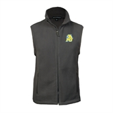 Fleece Full Zip Charcoal Vest-MU w/Cougar Head