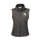 Ladies Fleece Full Zip Charcoal Vest-Misericordia Official Logo