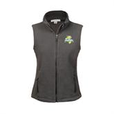 Ladies Fleece Full Zip Charcoal Vest-Misericordia Official Logo