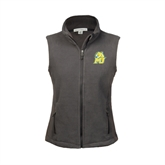 Ladies Fleece Full Zip Charcoal Vest-MU w/Cougar Head
