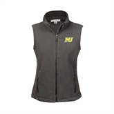 Ladies Fleece Full Zip Charcoal Vest-MU