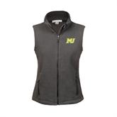 Ladies Fleece Full Zip Charcoal Vest-MU