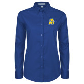 Ladies Royal Twill Button Down Long Sleeve-MU w/Cougar Head