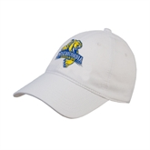 White Twill Unstructured Low Profile Hat-Misericordia Official Logo