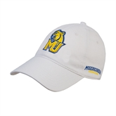White Twill Unstructured Low Profile Hat-MU w/Cougar Head