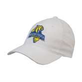 White OttoFlex Unstructured Low Profile Hat-Misericordia Official Logo