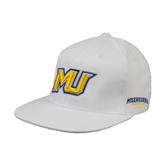 White OttoFlex Flat Bill Pro Style Hat-MU