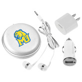 3 in 1 White Audio Travel Kit-MU w/Cougar Head