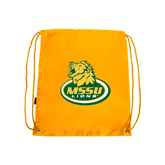Gold Drawstring Backpack-MSSU Lions w/Lion Head On Top