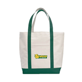 Contender White/Dark Green Canvas Tote-MSSU Lions w/Lion Head