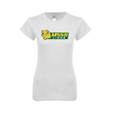 Next Level Ladies SoftStyle Junior Fitted White Tee-MSSU Lions w/Lion Head