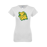 Next Level Ladies SoftStyle Junior Fitted White Tee-Lion Head
