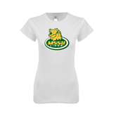Next Level Ladies SoftStyle Junior Fitted White Tee-MSSU Lions w/Lion Head On Top