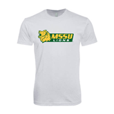 Next Level SoftStyle White T Shirt-MSSU Lions w/Lion Head