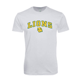 Next Level SoftStyle White T Shirt-Arched Lions w/Lion Head