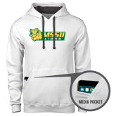Contemporary Sofspun White Hoodie-MSSU Lions w/Lion Head