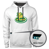 Contemporary Sofspun White Hoodie-MSSU Lions w/Lion Head On Top