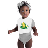 White Baby Bib-MSSU Lions w/Lion Head On Top