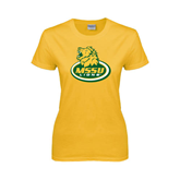 Ladies Gold T Shirt-MSSU Lions w/Lion Head On Top