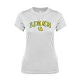 Ladies Syntrel Performance White Tee-Arched Lions w/Lion Head