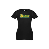 Youth Girls Black Fashion Fit T Shirt-MSSU Lions w/Lion Head