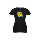 Youth Girls Black Fashion Fit T Shirt-Lion Head
