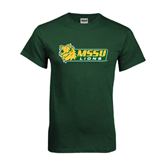 Dark Green T Shirt-MSSU Lions w/Lion Head