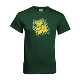 Dark Green T Shirt-Lion Head Distressed