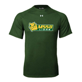 Under Armour Dark Green Tech Tee-MSSU Lions w/Lion Head