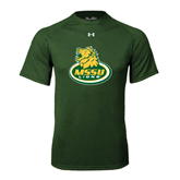 Under Armour Dark Green Tech Tee-MSSU Lions w/Lion Head On Top
