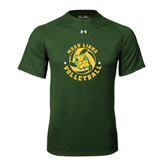 Under Armour Dark Green Tech Tee-Volleyball Circle Design
