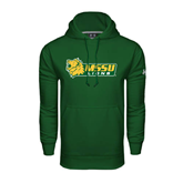 Under Armour Dark Green Performance Sweats Team Hoodie-MSSU Lions w/Lion Head