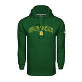 Under Armour Dark Green Performance Sweats Team Hoodie-Arched Southern w/Lion Head