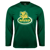Syntrel Performance Dark Green Longsleeve Shirt-MSSU Lions w/Lion Head On Top