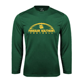 Syntrel Performance Dark Green Longsleeve Shirt-Arched Football Design