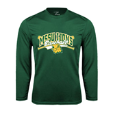 Syntrel Performance Dark Green Longsleeve Shirt-Baseball Crossed Bats Design