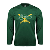 Syntrel Performance Dark Green Longsleeve Shirt-Softball Crossed Bats Design