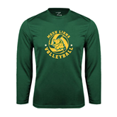 Syntrel Performance Dark Green Longsleeve Shirt-Volleyball Circle Design