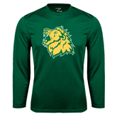 Syntrel Performance Dark Green Longsleeve Shirt-Lion Head