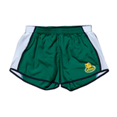 Ladies Dark Green/White Team Short-MSSU Lions w/Lion Head On Top