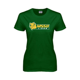 Ladies Dark Green T Shirt-MSSU Lions w/Lion Head