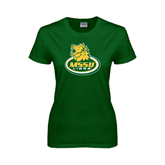 Ladies Dark Green T Shirt-MSSU Lions w/Lion Head On Top